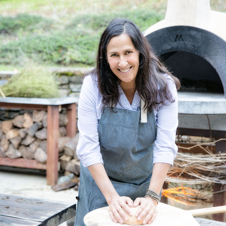 Master chef Andrea Blum, on the Montalvo Art Center grounds, by Tina Case.