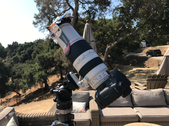 Jerry-rigged camera using solar glasses and mylar to cover any exposed areas.
